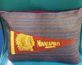 Minneapolis Minnesota pennant pillow upcycled