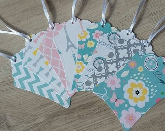 Summer in Paris, QTY: 16 gift tags, treat tags, party favor, hanging tags