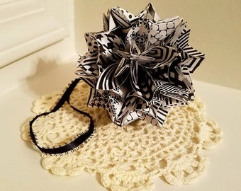 Black and White Origami Kusudama Flower Ball