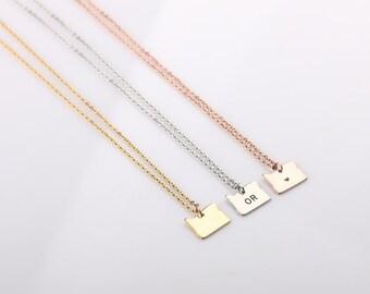Home State Oregon Charm - Small Oregon State Necklace - Gold Oregon Necklace - Love Oregon State Pendant