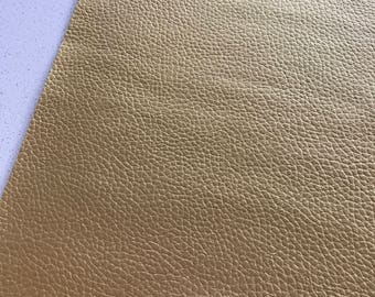 Thin 0.6mm Pearlized Gold Leatherette Sheet  A4 -  8X11 or A5 Size Gold Faux Leather Fabric Gold PU Leather Thin Leatherette
