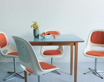 Vintage Set of 4 Orange and White Lockhausen Plastik Dining Chairs