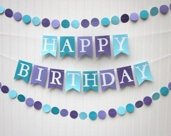 Happy Birthday Banner - Mermaid Party Decoration, Photo Prop ,Kid Birthday,  First Birthday, Under the Sea, Girl Banner
