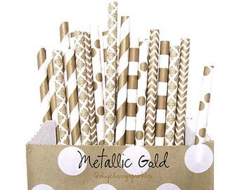 Gold Paper Straws -Gold Wedding decor -Gold Party Supplies -Gold Straws -Gold Damask, Gold Polkadot Metallic Gold, Gold Wedding Decor *Gold