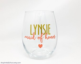 Personalized Matron of Honor Wine Glass, Maid of Honor Stemless Wine Glass, Personalized Maid of Honor Gift, Matron of Honor Proposal