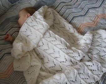 Hand Knit Baby Blanket, White Baby Blanket Knit, Baby Blanket White, Gender Neutral Baby Blanket, Baby Boy Blanket, Baby Girl Blanket