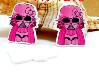 4 pcs. STAR WARS KITTY Darth Vader 45 X 30mm Planar flatback resins Hair bow centers. pink, Absolutely Darling, Hello