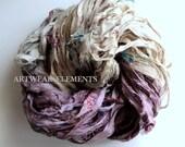Sari Silk, Vintage Muted Lavender Ivory Mix, Fair Trade, 5 Yards, Textile, Yarn, Yarn, Bracelet Ribbon, Silk Fabric, Artwear Elements, #10