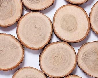 "SALE! 80 oak wood slices 2""- 3"" , rustic wedding decors, wood slice with bark, tag slices, woodland wedding decors, wood discs for craft"