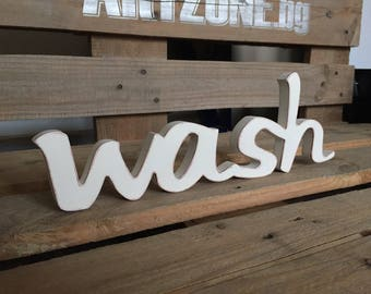 wash - Ivory, distressed brown edges, rustic wooden sign, home decor, laundry room sign