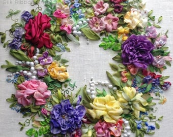 Constellation of Flowers Silk Ribbon Embroidery Picture Textile Wall Art