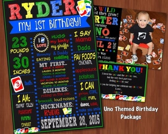 Uno Themed Birthday Package - Uno First Birthday - First Birthday Chalkboard - Invitation - Thank You - Uno Birthday Invitation - 1st