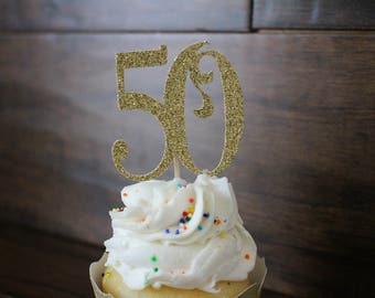 50th cupcake topper - gold - cupcake topper - 50th picks #23320