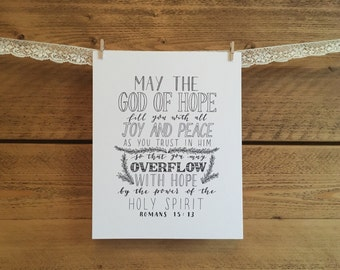 May the God of Hope, Romans 15:13 - 8x10 print - hand-drawn lettering/typography