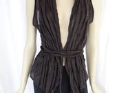 Reserved90s SARAH PACINI dark brown metal fibre linen exaggerated neck wrap vest/ lagenlook/  minimlaist chic/made in Italy: size -open