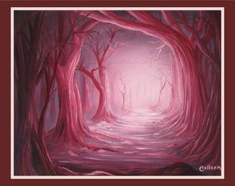 """Original 16x20"""" Oil Painting - Crimson Forest Path Pink Trees Wall Art"""