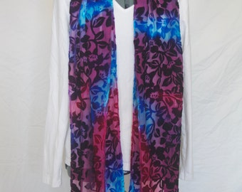 Hand-dyed cut velvet silk rayon velvet scarf with fringe