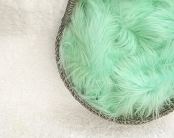 NEW ITEM.....Mint or Coral Faux Fur Prop,Long and Thick Faux Fur,  Newborn Baby Photo Prop, Posing Fabric, Layering Blanket, Faux Fur.