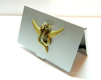 Golden flying Cobra, Steampunk business card holder, wallet case, gift for brother, grandfather, groomsman, wallet case, container for pills
