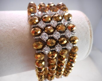Vintage Gold Faceted Bead Stretch Bracelet Gold Tone With Clear Diamond Rhinestones