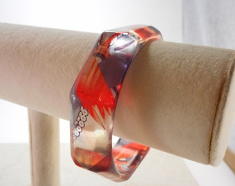 Octagon Lucite Bangle Bracelet Red and Purple