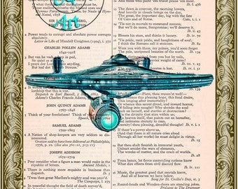 Enterprise Spaceship Bliss Graphic Art Beautifully Upcycled Vintage Dictionary Page Book Art Print, Star Trek Print