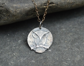 Simple Sterling Silver Owl Sitting on a Branch Necklace