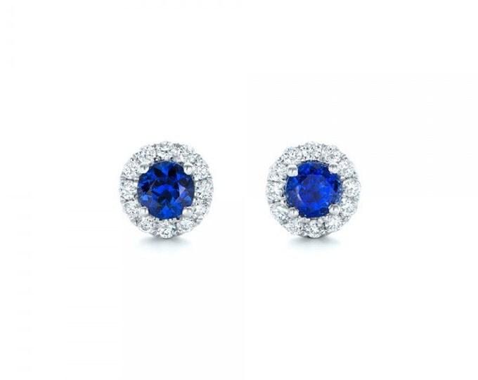 Blue sapphire Diamond Earrings-Halo sapphire earrings-White Gold Earring-anniversary present-Women Jewelry-Stud Earrings-For her-Birthstone