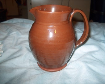 Vintage Redware Pottery Pitcher, Handmade, WAS 25.00 - 50% = 12.50