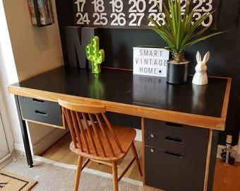 Now Sold.... Super 80s Retro Vintage Industrial Wooden Desk... Now Sold