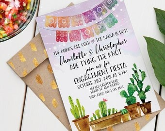 Fiesta Engagment, Shower, Rehearsal Dinner | Editable Printable Invitation | Watercolor Southwest | Instant Download PDF | Custom PDF Invite