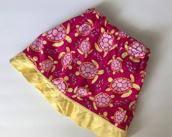Pink and Yellow Turtle Skirt, custom made to order