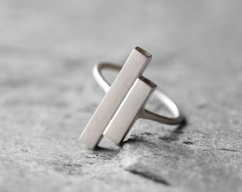 Asymmetric bars ring, sterling silver asymmetric ring, open ring, geometric ring, statement ring, minimalist ring, contemporary ring