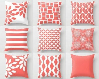 Outdoor Pillows, Coral White Pillows, Outdoor Home Decor, Outdoor Throw Pillows