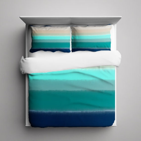 striped duvet cover home decor teal navy aqua by hlbhomedesigns. Black Bedroom Furniture Sets. Home Design Ideas