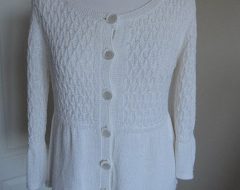 Vintage Retro White Knitted Bell Sleeves Cardigan M