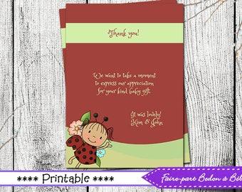Thank you Card  - Ladybug thank you card - ladybug card - printable card - Digital printable file