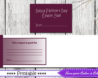 Coupon Booklet Mother's Day - Mother's day gift - Digital printable - Pdf printable - booklet - coupons - Mother's day