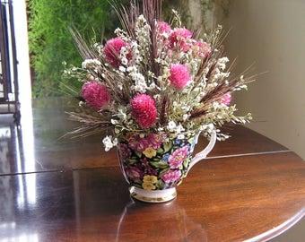 Table Arrangement, Dried Flower Centerpiece, Tea cup Flower arrangement, Flowers in a tea cup, Dried flower decor, Floral