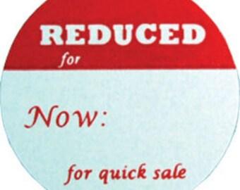 "Adhesive Labels ""REDUCED""  1"" dia (Pkg of 500)  (DTA2792)"