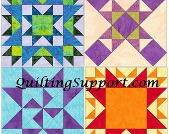 Star Chian 15 Inch Block Set of 4 Paper Piece Template Quilting Block Patterns Set 1 PDF