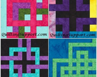 10 Inch Knot Block Set of 4 Paper Piece Foundation Quilting Block Patterns Set 1PDF