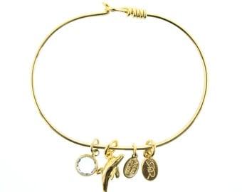 Gold Dolphin Bracelet with Swarovski Crystal