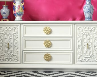 Carved Front Dresser - Painted in White Dove - Ready to Ship