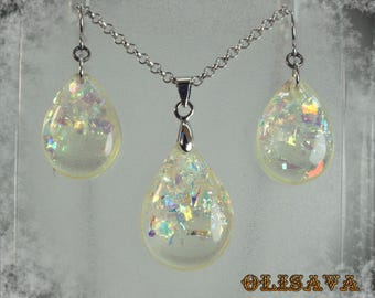 Resin glitter earrings and Pendant ,  Resin Jewelry , Resin glitter Jewelry , resin set