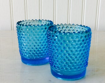 Vintage Set of Two, Aqua Blue, Hobnail, Glass Candleholders, Votives, French Country, Cottage, Wedding Decor