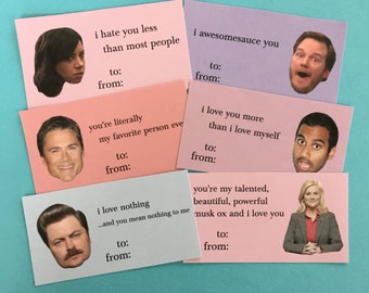 Parks and Rec Inspired Valentine's Day cards