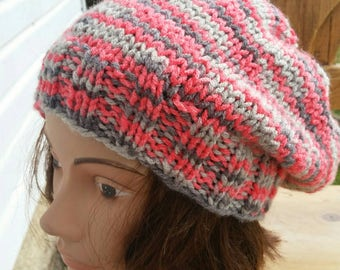 Knit slouchy SALE, Knit Beanie, snowboard hat, Slouch Hat, Coral Slouch Beanie, Gray Slouchy, Slouchy hat, Grey Coral Slouchy, Grey Knit hat