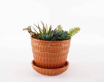 Vintage McCoy Pottery Orange Beaded Flower Pot Saucer, McCoy Large Plant Pot, Succulent Planter, Mid Century Decor, Vintage Pottery 1960s