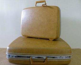 Vintage Samsonite Silhouette Suitcases - Set of 2 - Hardcase Luggage Desert Tan Gold - Retro Travel